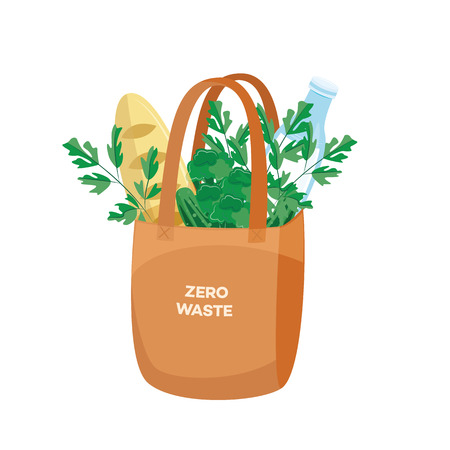 Vector illustration of cloth shopping bag full of products for reuse and zero waste concept in flat style isolated on white background - textile eco friendly package with food. Illusztráció
