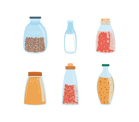 Vector illustration set of different glass bottles and jars with food and drinks in flat style isolated on white background - eco friendly and healthy kitchenware for products storage.
