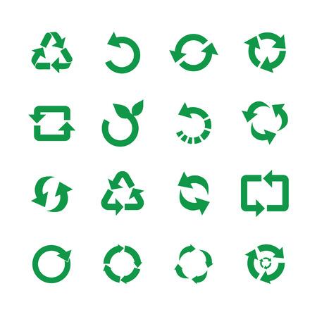 Nul afval en hergebruik symbolen vector illustratie set met verschillende eenvoudige platte groene tekenen van recyclen met pijlen in verschillende vormen voor milieuvriendelijke materialen en milieubescherming concept.