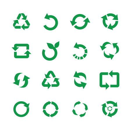 Zero waste and reuse symbols vector illustration set with various simple flat green signs of recycle with arrows in different forms for eco friendly materials and environmental protection concept. Vettoriali