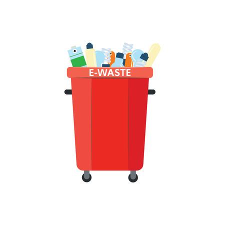 Papierkorb für Elektroschrott im flachen Stil auf weißem Hintergrund zu recyceln - Vektorillustration von Rot voller elektronischer Abfälle zum Trennen und Sortieren von Müllkonzept.