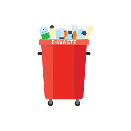 Recycle trash bin for e-waste in flat style isolated on white background - vector illustration of red  full of electronic garbage for separating and sorting rubbish concept.