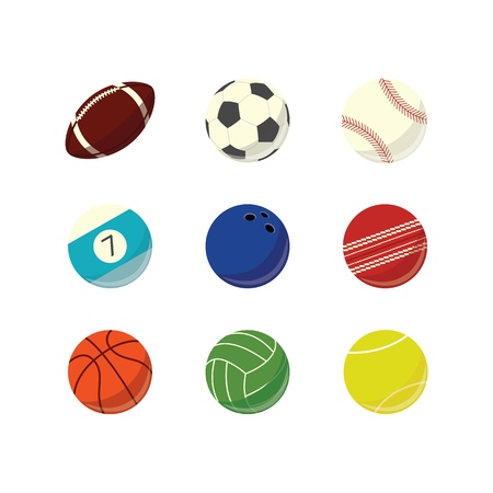 Vector game sport balls simple icon set. Football, basketball babseball rugby tennis bowling sport equipment, sphere game play element. professional championship element. Athletic lifestyle symbol. 일러스트