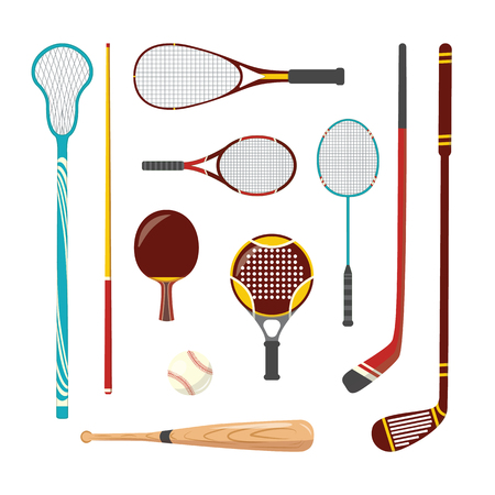 Vector sport racquets and equipment set. Hockey, squash sticks, tennis badmintons rackets, baseball bat, ball and pool snooker cue. Isolated illustration