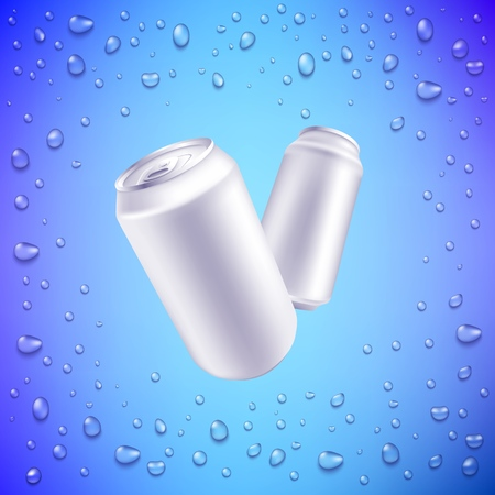 Vector aluminium can mockup for beer or soda fresh drink packaging design. Soft or alcohol drink metal container on water drops background. Refreshing beverage in metal tin.