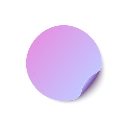 Round blank light paper sticker with folded edge in realistic style isolated on white background- vector illustration mock up of blue and purple gradient circle adhesive curled label or note paper. 일러스트