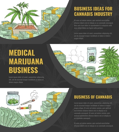 Vector illustration set of business idea for marijuana industry horizontal banners with hand drawn cannabis plant and leaf - concept of legalization and medical use of sativa.