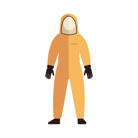 Vector protective uniform costume icon. Coverall suit for work in contaminated areas, bio hazard or at dirty manufacturing. Professtional industrial safety wear, isolated illustration Stock Illustratie