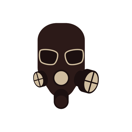 Vector protective gas mask with respirator icon. Safety helmet for work in contaminated areas, or at dirty manufacturing. Professtional industrial safety wear, isolated illustration