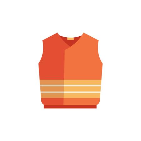 Icona di gilet protettivo di vettore. Divisa arancione per costruttori, lavori di fabbricazione di costruzioni, servizio di riparazione stradale. Costume di usura di sicurezza industriale professionale, illustrazione isolata Vettoriali