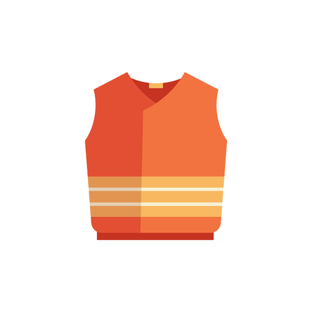Vector protective waistcoat icon. Orange uniform for builders, construction manufacturing work, road repair service. Professtional industrial safety wear costume, isolated illustration
