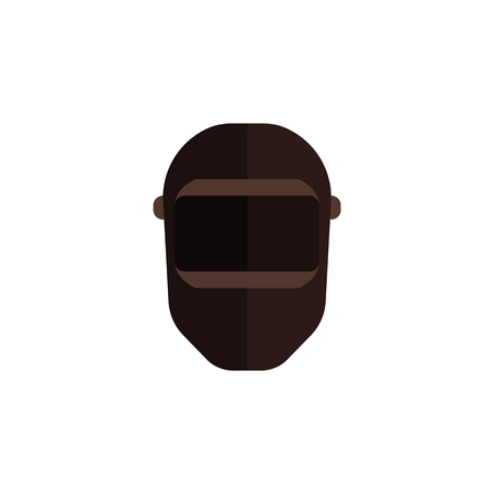 Vector balaclava icon. Snowboarding or mountain skiing protective wear. Sign of terrorist, robber or criminal person hidding face. Military workers equipment, isolated illustration