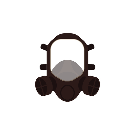 Vector protective gas mask respirator icon. Safety helmet for work in contaminated areas, or at dirty manufacturing. Professtional industrial safety wear, isolated illustration