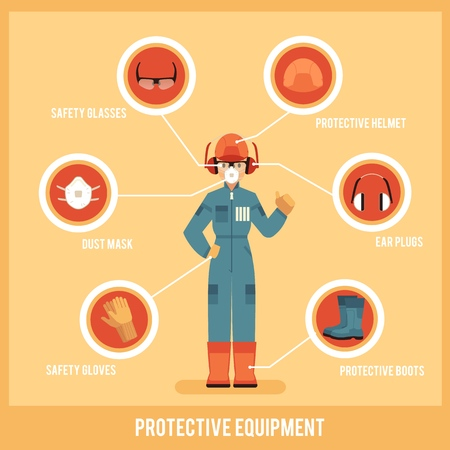 Vector man worker in protective uniform and equipment icon. Professional clothing for work in contaminated areas, builders or at dirty manufacturing. Industrial safety wear on male character