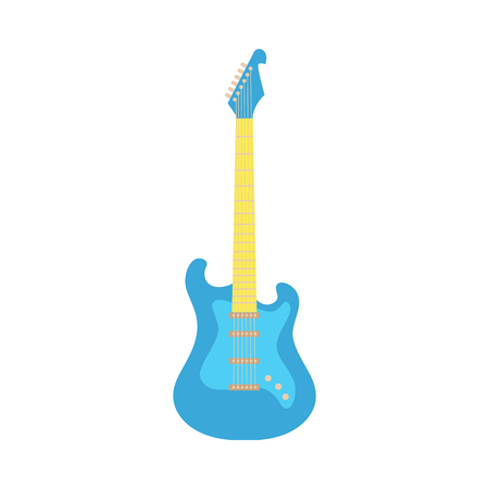 Vector blue fender type electric guitar icon. Classic rock musical instrument. Symbol of heavy metal, blues and string music. Stage entertainment equipment for musicians. Isolated illustration Ilustracja