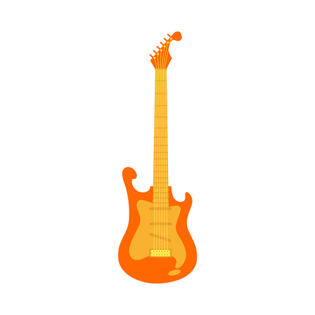 Vector orange red fender type electric guitar icon. Classic rock musical instrument. Symbol of heavy metal, blues and string music. Stage entertainment equipment for musicians. Isolated illustration