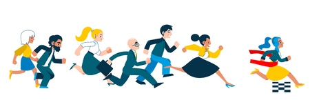 Business success and competition concept with people in suits running in flat style - isolated vector illustration of race with businesswoman crossing finish line and tearing red ribbon.