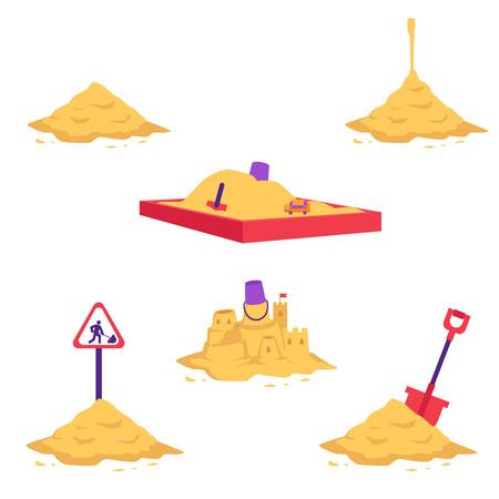 Insieme dell'illustrazione di vettore del mucchio di sabbia - vari mucchi di polvere secca gialla utilizzando in lavori di costruzione e riparazione o per giochi per bambini isolati su priorità bassa bianca. Diversi tumuli sabbiosi con attrezzatura. Vettoriali