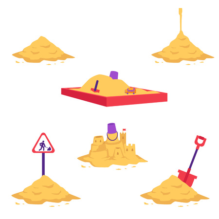 Sand heap vector illustration set - various piles of yellow dry powder using in building and repair works or for children games isolated on white background. Different sandy mounds with equipment. Stock Illustratie