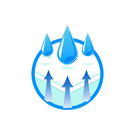 Symbole de technologie de tissu respirant et imperméable dans un style plat - illustration vectorielle isolée d'un matelas orthopédique confortable avec des matériaux hydrofuges pour la sécurité sanitaire.