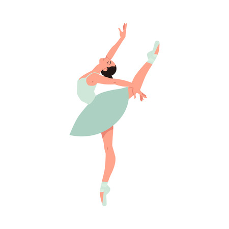 Vector elegant ballerina in green tutu dress, dancing on pointe shoes. Female beautiful classic theater dancer character on isolated background. Ballet artist illustration Foto de archivo - 126714032