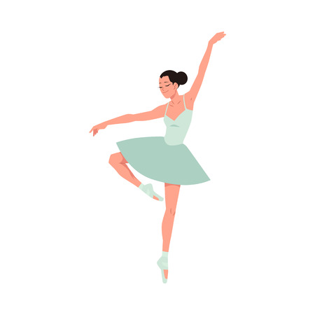 Young ballerina in tutu and pointe shoes dancing isolated on white background. Vector illustration of beautiful female character performing classical ballet dance in flat style.