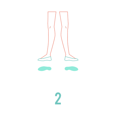 Vector illustration of ballerina feet in pointe shoes standing in second ballet position in flat line style isolated on white background. Female legs performing classical ballet technique.