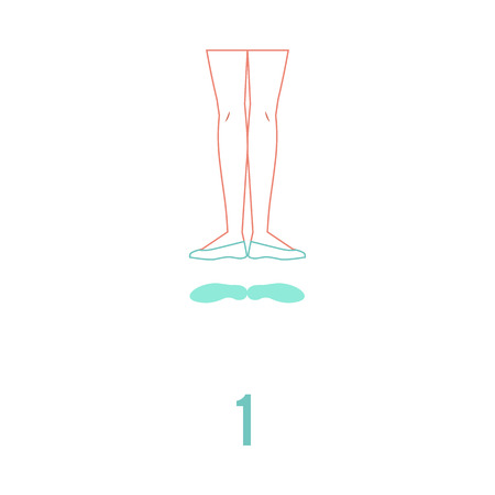 Vector illustration of ballerina feet in pointe shoes standing in first classical ballet position in flat line style isolated on white background - female legs showing ballet technique.
