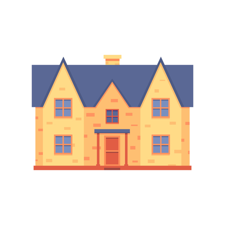 Vector house renovation concept with private house after repair work icon. Modern building exterior after repairment icon. Isolated illustration