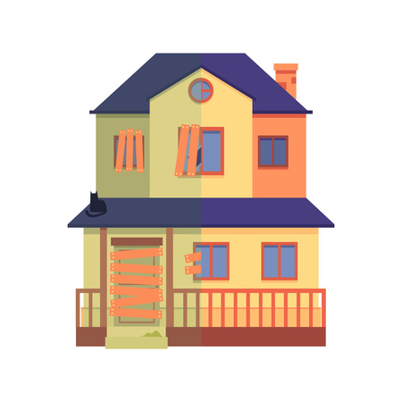 Vector house renovation concept with private house before and after repair work. Modern building exterior after repairment icon. Isolated illustration