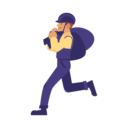 vector construction work handyman character, builder in overall, protective hat carrying construction garbage bags. Professional repairman, constructor in uniform. Isolated illustration