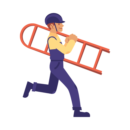 vector construction work handyman character, builder in overall, protective hat carrying ladder. Professional repairman, constructor in uniform. Isolated illustration  イラスト・ベクター素材
