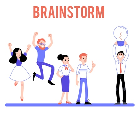 Vector brainstorm character concept. Male, female business people coming up with idea, holding light bulb as creativity symbol, jumping raising hands in sign of success, thinking.