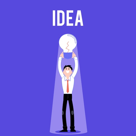 Vector employee creativity concept with happy business man holding big light bulb above head. Male office characters and symbol of idea, eureca and working process Standard-Bild - 126714055