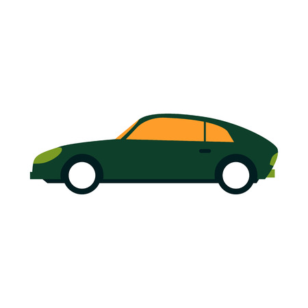 Green sport sedan car side view in flat style isolated on white background - racing or city automobile. Vector illustration of fast wheel motor transportation - auto vehicle.