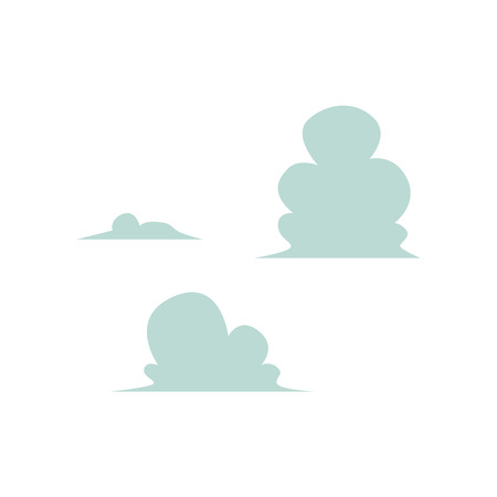 Vector abstract sky clouds icon set. Natural phenomenon symbol, sign of cloud computing technologies, weather and climate forecast. Isolated illustration