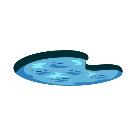 Vector abstract lake icon with water ripples. Countryside landscape construction element. Summer nature outdoor symbol. Park or rural landscape design object. Isolated illustration Banco de Imagens - 126714061