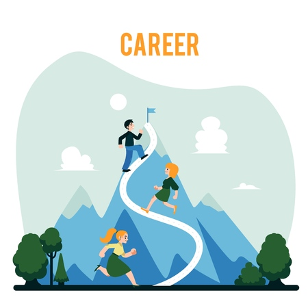 Vector corporate people, male female characters running mountain with flag on its top. Concept of long career path success and achievement. Business leadership, challenge and setting objectives symbol Illustration
