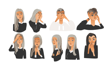 Vector beautiful young woman with negative emotions set. Blonde and brunette girl with sad, angry, terrified and exhausted facial expression collection. Isolated illustration