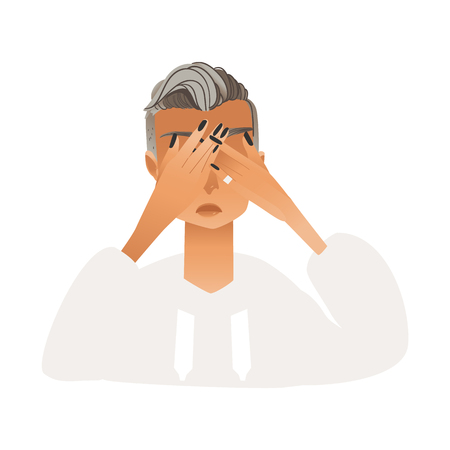 Upset regretful young woman covering her eyes with hands isolated on white background - vector illustration of flat cartoon desperate female character, human face negative expression.