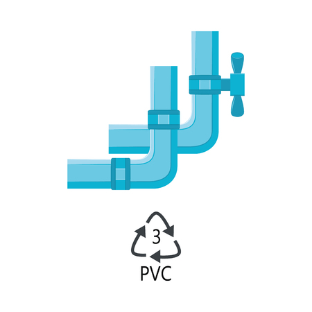 Vector plastic plumbing tubes PVC type. Sewerage construction equipment with valve fitting. Pipeline part, water supply system element icon. Vector illustration