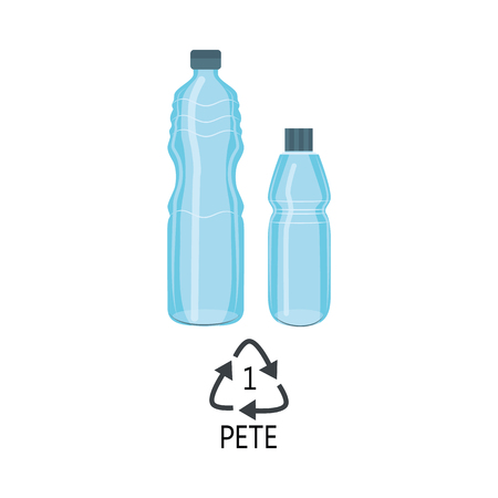 Vector plastic bottles PETE mark icon. Blue clean container for bottled mineral water, fresh beverage or juice that can be recycled. Sport drink empty bottle packaging. Isolated illustration Illusztráció