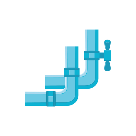Blue plastic water pipe with valve in flat style isolated on white background - drain construction with faucet. Vector illustration of water supply or sewage plumbing system.