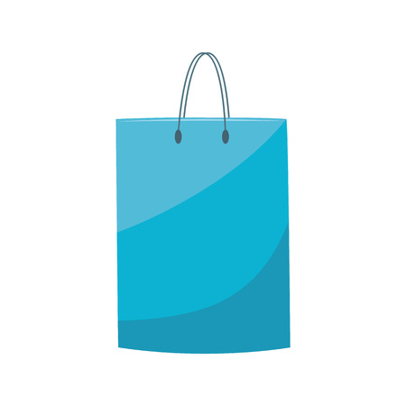 Blue plastic shopping bag with handle in flat style isolated on white background - vector illustration of polyethylene non-ecological package to carry products and purchases.