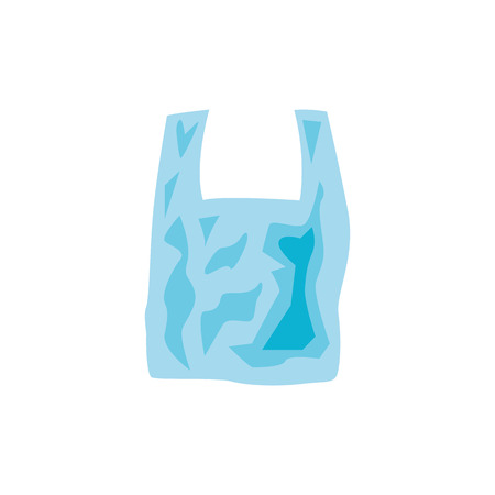 Transparent disposable plastic bag with handle in flat style isolated on white background - vector illustration of polyethylene non-ecological package to carry or storage products.