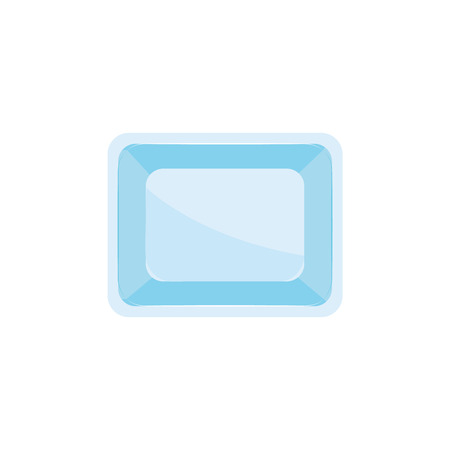 Plastic disposable food container for meat, fish or vegetables storage in flat style isolated on white background - vector illustration of blue rectangular polystyrene non-ecological tray.