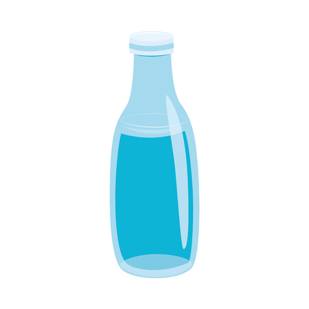 Vector illustration of glass bottle with water in flat style isolated on white background. Eco friendly reusable jar for drink storage for healthy lifestyle or zero waste concept. Illusztráció