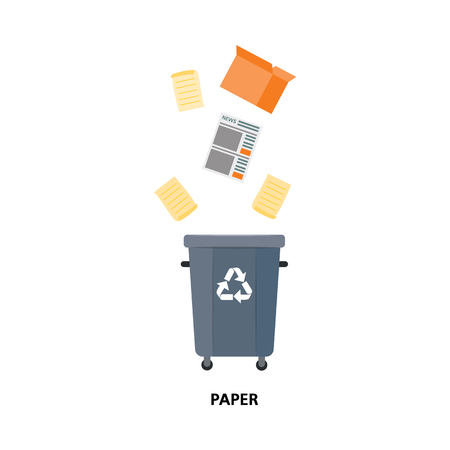 Vector recycle bin for trash separtion. Paper waste garbage container with newspapers, magazines, cardboard boxes . Dump recycling concept for environmental related design. Isolated illustration Banque d'images - 114045908