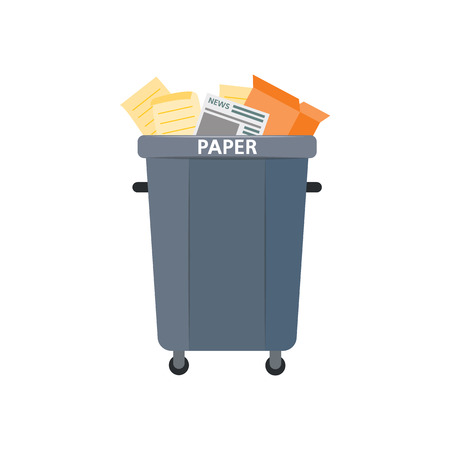 Vector recycle bin for trash separtion. Paper waste garbage container with newspapers, magazines . Dump recycling concept for environmental related design. Isolated illustration