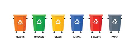 Contenedores de basura vacíos de diferentes colores para varios tipos de basura en estilo plano - ilustración de vector aislado del concepto de reciclaje y protección del medio ambiente con contenedores para residuos clasificados.